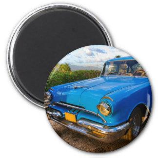 Coche clásico americano viejo en Trinidad, Cuba Imán Redondo 5 Cm