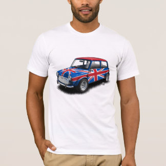Coche clásico de Union Jack mini en la camiseta