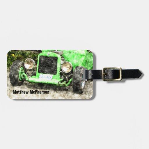 Coche clásico del coche de carreras verde del auto etiqueta para equipaje