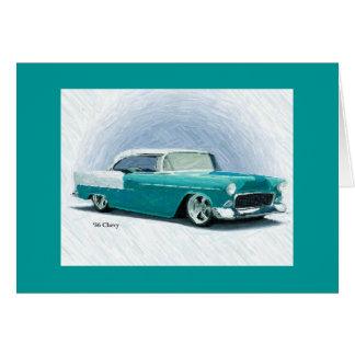 Coche clásico del vintage - tarjeta 1956 del Bel
