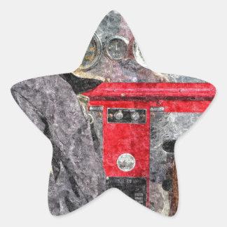 Coche de bomberos americano pegatina en forma de estrella