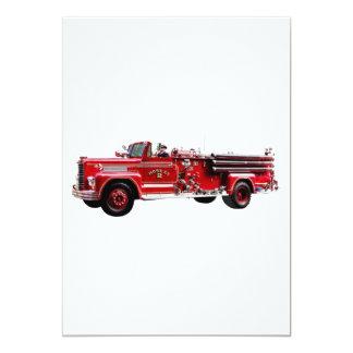 Coche de bomberos antiguo invitación 12,7 x 17,8 cm
