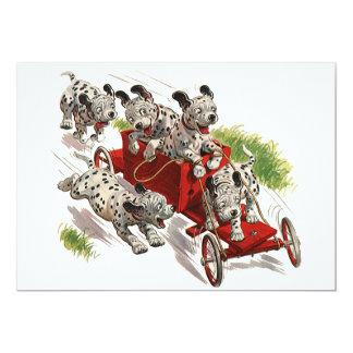 Coche de bomberos dálmata lindo de los perros de invitación 12,7 x 17,8 cm