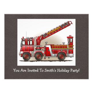 Coche de bomberos de gancho y de escalera invitación personalizada