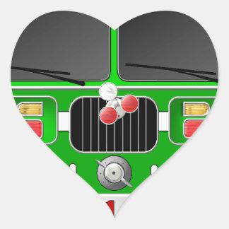 Coche de bomberos de la verde lima pegatina en forma de corazón