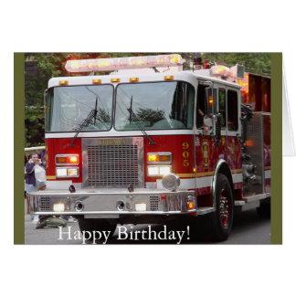Coche de bomberos del cumpleaños tarjeta
