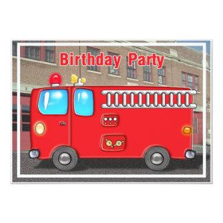 Coche de bomberos en la invitación del cumpleaños