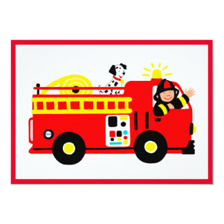 Coche de bomberos lindo invitación 12,7 x 17,8 cm
