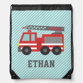 Coche de bomberos rojo lindo para los muchachos, mochilas con cordón ajustable