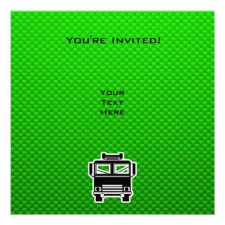Coche de bomberos verde invitaciones personalizada