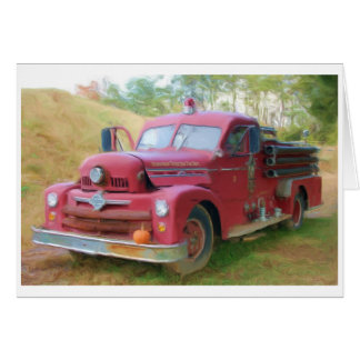 Coche de bomberos viejo tarjeta pequeña