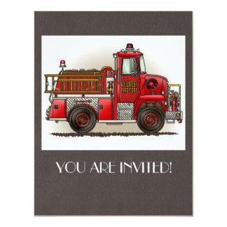 Coche de bomberos voluntario invitación 10,8 x 13,9 cm
