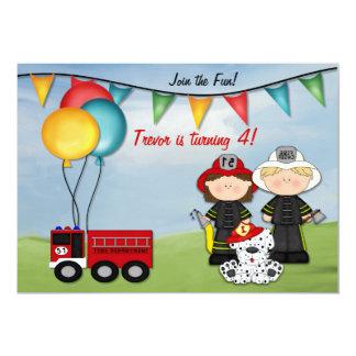 Coche de bomberos y pequeño cumpleaños del bombero invitación 12,7 x 17,8 cm