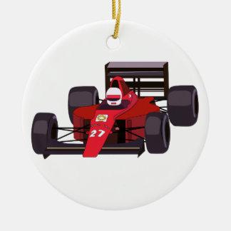 Coche de carreras adorno navideño redondo de cerámica