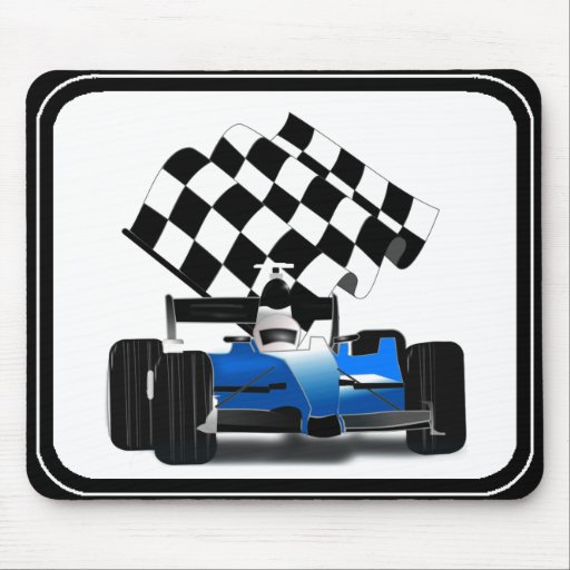 Coche de carreras azul con la bandera a cuadros alfombrilla de ratón