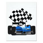 Coche de carreras azul con la bandera a cuadros invitacion personalizada