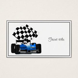 Coche de carreras azul con la bandera a cuadros tarjeta de visita