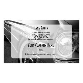 Coche de carreras blanco y negro tarjetas de visita
