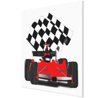 Coche de carreras rojo con la bandera a cuadros impresiones en lienzo estiradas