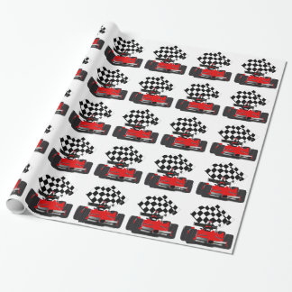 Coche de carreras rojo con la bandera a cuadros papel de regalo