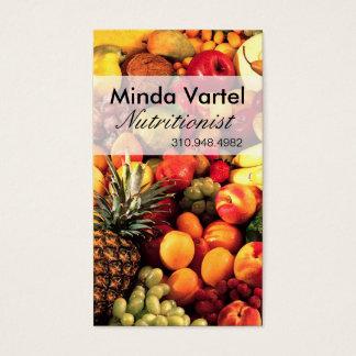 Coche de la comida del nutricionista de la fruta tarjeta de negocios