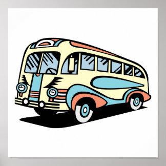 coche de motor retro del autobús póster