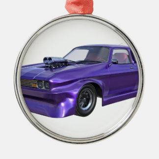 Coche del músculo de 2016 púrpuras adorno navideño redondo de metal