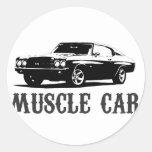 coche del músculo del vintage pegatina redonda