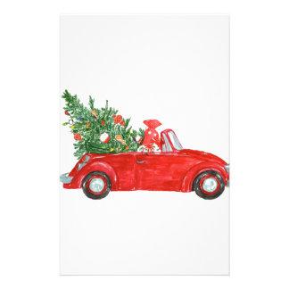 Coche del navidad del vintage papelería