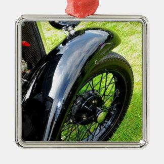 Coche del vintage adorno navideño cuadrado de metal