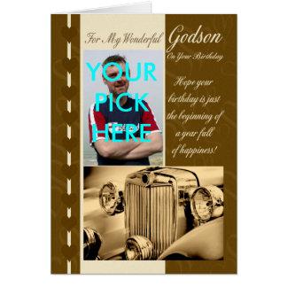 Coche del vintage de la tarjeta de cumpleaños del