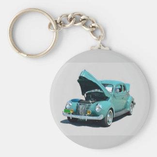 coche del vintage de los años 40 llavero redondo tipo chapa