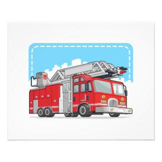 Coche rojo del coche de bomberos o de bomberos flyer a todo color