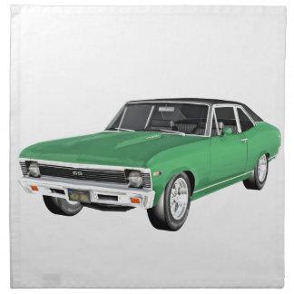 Coche verde del músculo 1968 servilleta de tela