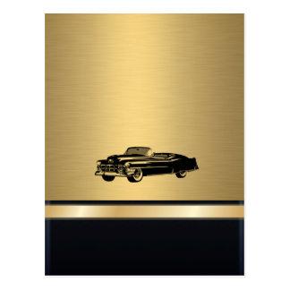coche viejo con clase del vintage de oro de lujo postal