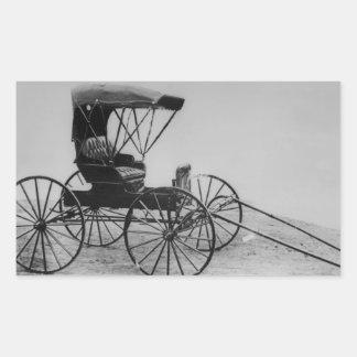 Cochecillo auto de 1910 Seat Pegatina Rectangular
