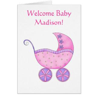 Cochecillo rosado personalizado nombre agradable tarjeta de felicitación