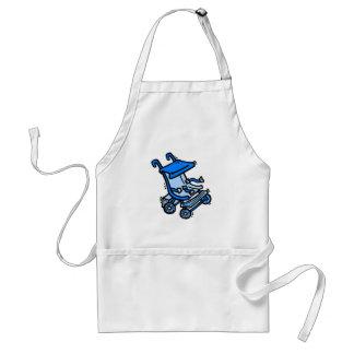 cochecito azul delantal