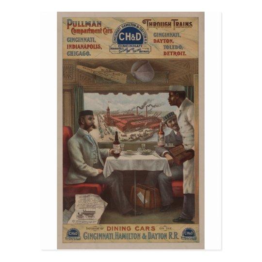 Coches del compartimiento del pullman del vintage postal