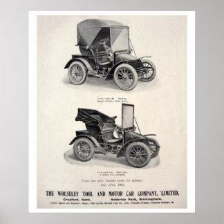 Coches del vintage que hacen publicidad del poster