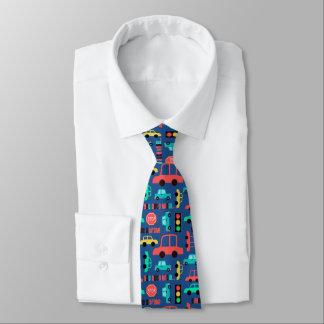 Coches en azul del tráfico corbata personalizada