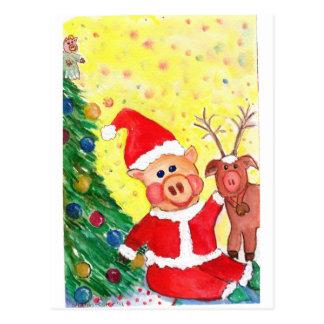 Cochinillo y Rienda-cerdo de Santa del bebé por el Postal