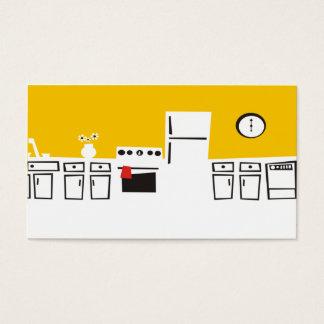 Cocina blanca retra que cocina la tarjeta de