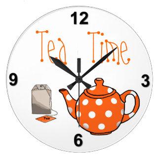 Cocina del naranja y del blanco del tiempo del té reloj redondo grande