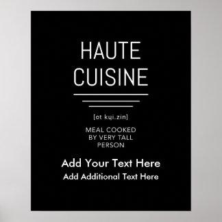 Cocina francesa divertida de Haute del cocinero Póster