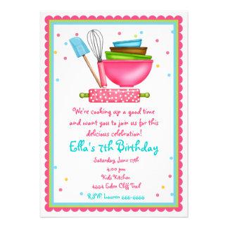 Cocina que cocina invitaciones del cumpleaños comunicado personalizado