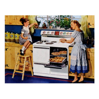 Cocina retra Postard de la madre/de la hija Postal
