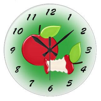 Cocina roja linda de las manzanas reloj redondo grande