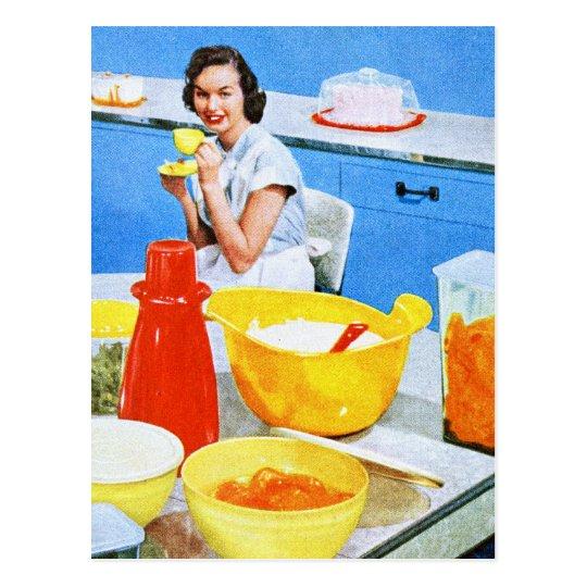 Cocina suburbana del ama de casa del kitsch de los postal