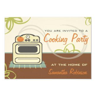 Cocinando el fiesta - azul anaranjado de Brown de Invitación 12,7 X 17,8 Cm
